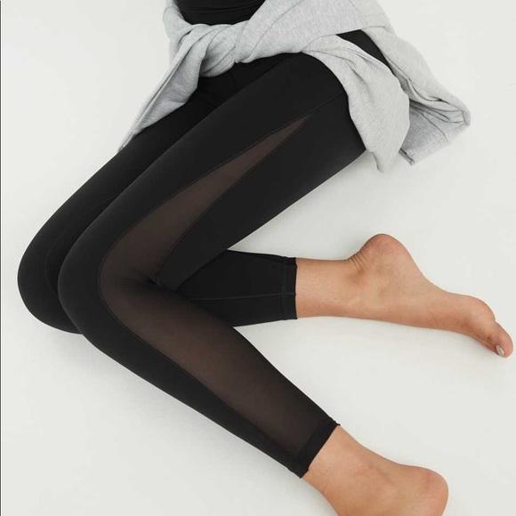 AERIE Offline Black Mesh Panel High Rise Leggings